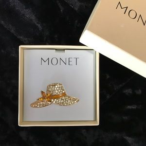 Stunning Vintage Monet Yellow Rhinestone Hat Pin